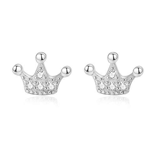 ESBERRY 925 Sterling Silber Ohrringe Schlichte und Stilvolle Kronen-Design Ohrstecker Persönlichkeit Temperament Schmuck Geschenk für Frauen