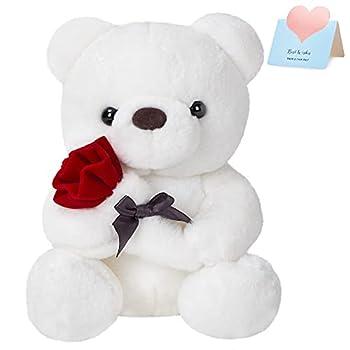 CozyWorld Romantic Bear Flower Plush Doll Teddy Bear Toy Lover Valentine s Day Christmas Wedding  White