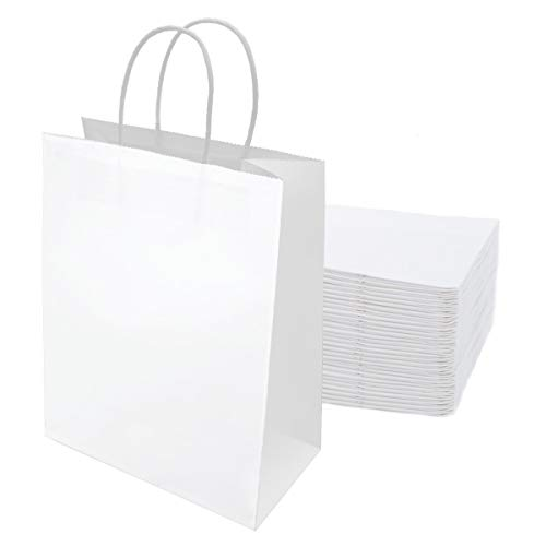 30 piezas Bolsas Papel 21 * 15 * 8CM,Bolsas de Papel Blanco,