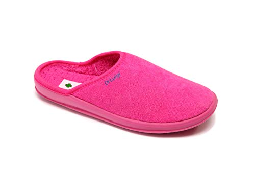 DrLuigi Medical Slippers for Women - House Slippers Memory Foam Shoes Indoor Outdoor Italian Cotton - Made in EU - Relieves Pressure, Improves Peripheral Blood Circulation - Fuchsia 9 F US