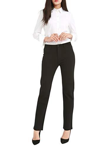 Bamans Hose schwarz Damen elegant Hose anziehen Elastische Taille Casual Daily Office Hose(Black,Medium)