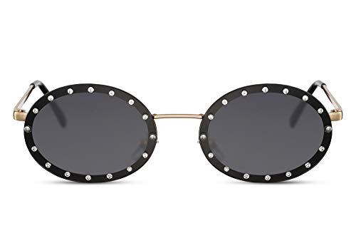 Cheapass Occhiali da Sole d'Oro Metallici Ovali Lenti Nere con Diamanti Stellati UV400 protetti da Donna