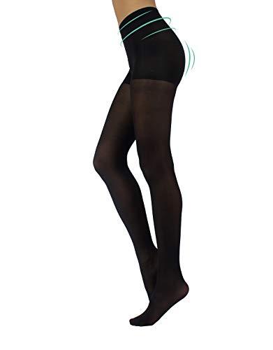 CALZITALY Damen Blickdichte Anti Cellulite Strumpfhose | Shaper Figurformende Strumpfhosen Beauty und Relax | Schwarz | S, M, L, XL | 40 DEN | Made in Italy (SCHWARZ, XL)