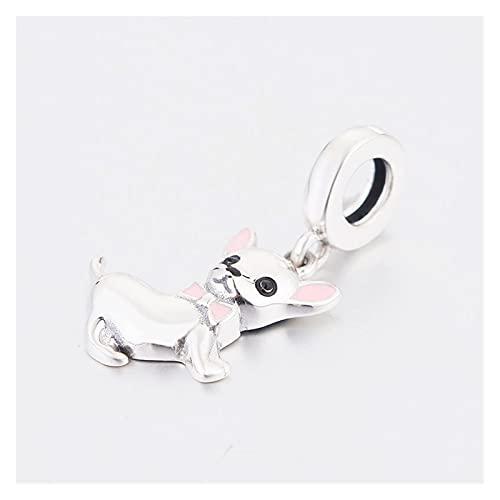 JIAQ 925 Sterling Silber MR Chihuahua Hund Rosa Fliege Perle Anhänger Charme Armband Herstellen Baumeln BERLOQUE 2021