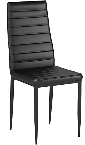 IDS Online Dining Side Chair with Foot Pad Black Modern Style PU Leather