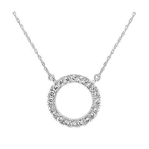 Brilliant Expressions 10K White Gold 1/5 Cttw Conflict Free Diamond Circle Adjustable Pendant Necklace (I-J Color, I2-I3 Clarity), 16-18 inch