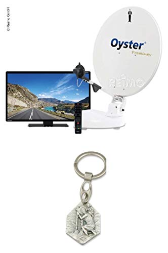 Zisa-Kombi Oyster® 85 Twin SKEW Premium Sat-Anlage inkl. 21,5'Oyster® TV (932988490610) mit Anhänger Hlg. Christophorus