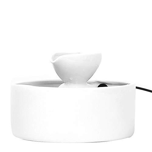 Pet Wasserspender Keramik-Brunnen Wasser Feeder Katzen automatische Wasser-Zufuhr Smart Water Circulation Trinkwasser Bowl 2L (Farbe : Weiß, Größe : Free size)