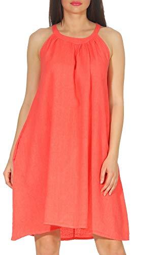 Malito Mujer Vestido Lino para Casual sin Mangas Verano 8596 (Coral)