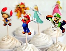 Super Mario Cupcake Toppers Birthday Party Supplies Favors Pack of 24