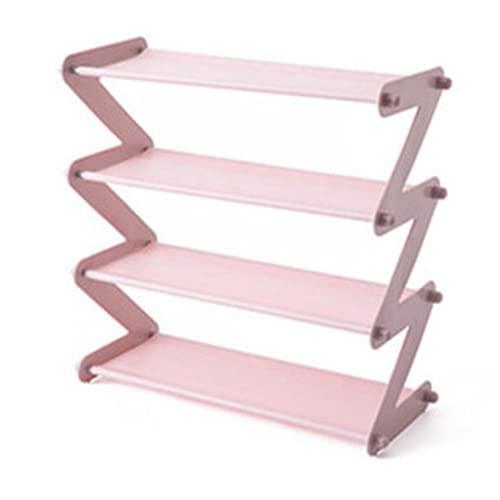 Heqianqian Zapatero simple montado en acero inoxidable estante de almacenamiento para pasillo (tamaño: como se muestra; color: rosa 4 larer)