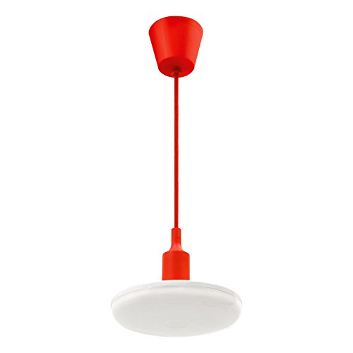ALBENE ECO   LED Hängeleuchte 24W / 2000 lm (Rot) - stylisches Komplettset mit großem E27 LED-Leuchtmittel, Silikonfassung, Gewebependel und Deckenrosette