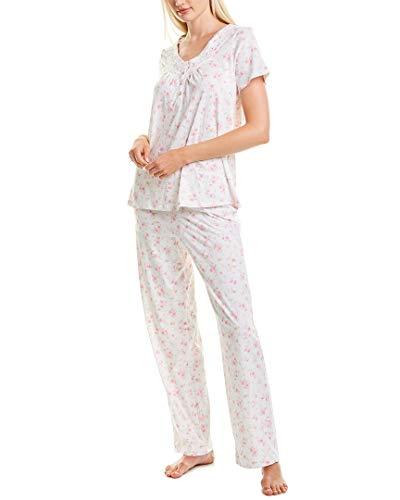 Carole Hochman Carole hochaman Women's Short Sleeve Long Pant Pajama Set, Small Pink Floral, Large