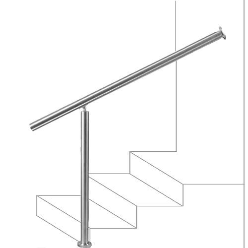 Handrails for Outdoor Steps, 304 Brushed Stainless Steel Handrail Railing Handrail Stair Rail 1-5 Step Outdoor Stair Railing