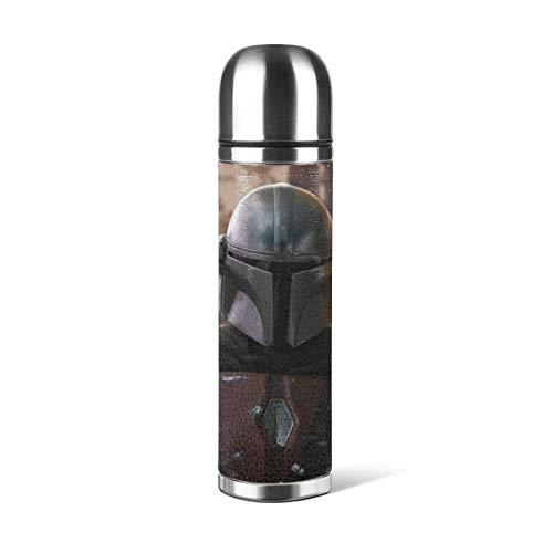 donghu Mandalorian Jedi Knight Botella de agua de acero inoxidable con doble pared aislada al vacío diseño deportivo a prueba de agua, portátil para coche