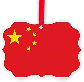 Kysd43Mill - Adornos navideños con diseño de Bandera de China para árbol de Navidad
