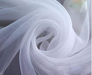 """120"""" Wide (10ft Wide) Sheer Voile Chiffon Fabric - Perfect for Draping Panels and Masking for Weddings & Events - White by..."""