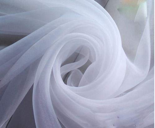 120' Wide (10ft Wide) Sheer Voile Chiffon Fabric - Perfect for Draping Panels and Masking for Weddings & Events - White by The Yard (1 Yard) (1 Yard)