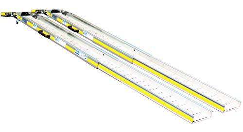 1 Paar bewegliche Auffahrrampen aus Aluminium, tragbar und teleskopisch, 18,5 x 250 cm mit 300 kg Gesamtbelastung, geeignet für Behinderte und Güter.