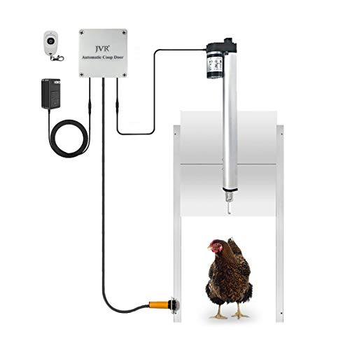 JVR Chicken Coop Door Automatic Smart Opener Kit with Safety Mechanism, Compatible with Alexa, Google Home, Rainproof 2.4GHz WiFi Timer Controller Actuator Motor Mobile/Remote Control (Smart Version)