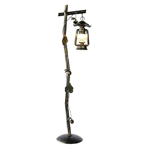 CKQ-KQ Floor Lamp Amerikaanse Rural Vegen Gold Do The Old Lantern Kerosinelamp glazen kap van het smeedijzer met bladmotief Staande Lamp 1.62m met voetschakelaar for Living Room Slaapkamer Kantoor