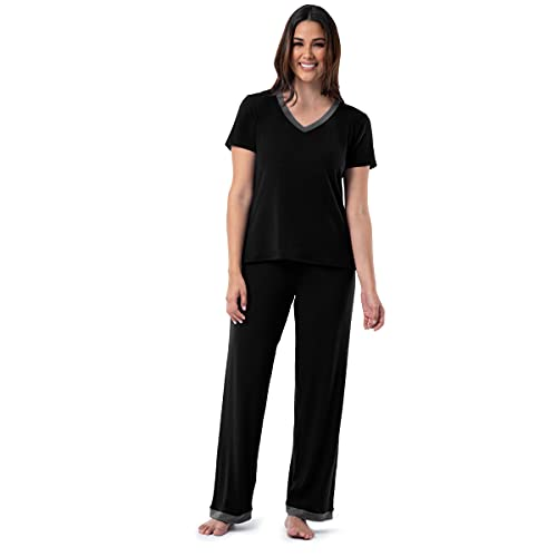 Fruit of the Loom Women's Short Sleeve Tee and Pant 2 Piece Sleep Set, Black, Medium