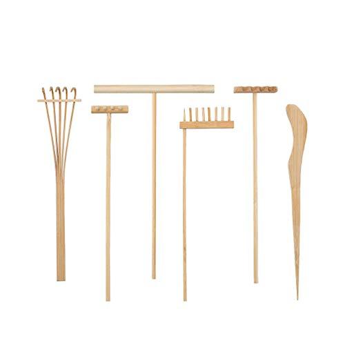 Healifty Lot de 6 mini râteaux en bambou pour jardin zen et méditation