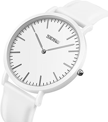 Reloj de pulsera analógico de cuarzo para hombre, con correa de silicona, moderno, informal, deportivo, minimalista, Blanco,