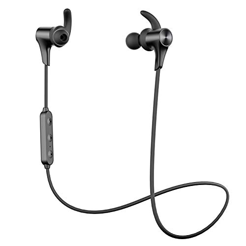 【Nuevo Versión Q12 HD】 SoundPEATS Auriculares Bluetooth 5.0 Inalámbrico Magnéticos, Cascos Deportivos IPX6 Impermeable con Mic In Ear Incorporado Estéreo, Duración 9 Horas para iOS Android PC (Negro)