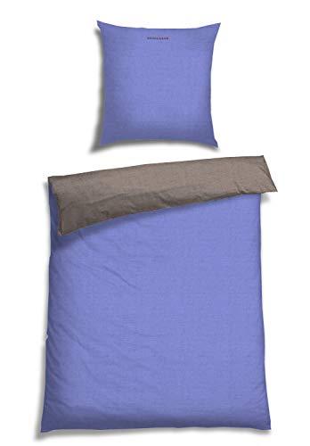 Schiesser Wendebettwäsche Doubleface Hellblau-Silber 135x200cm, 100% Baumwolle