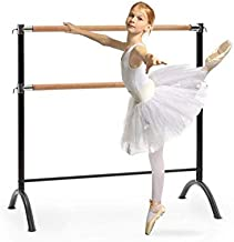 Klarfit Barre Double Ballet Bar, Free-Standing and Portable, 43 x 44 inches, 3.7ft, Adjustable, Powder-Coated Steel Tubes with Wooden Look, for Stretch, Dance and Balance Exercises, Black
