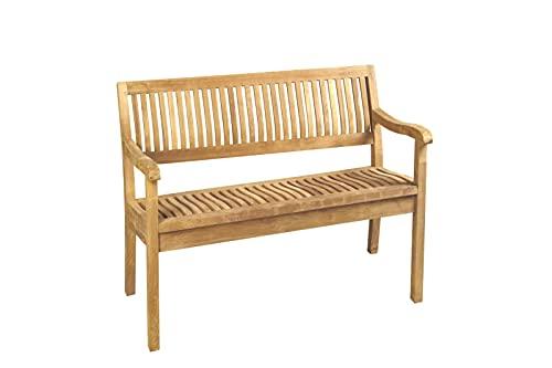 SAM 2-Sitzer Gartenbank Kingsbury, Sitzbank 120 cm, Teakholz massiv, Holzbank für den Balkon oder Garten, pflegeleichtes Unikat