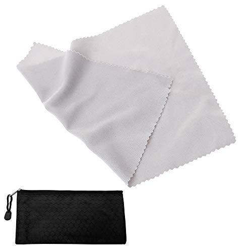 JaneYi (12 Stück) Brillenputztuch Mikrofaser Reinigungstücher Weiche Mikrofasertüch für Gläser Telefon Tablette Laptop Kameraobjektiv LCD Fernseher iPad Glas Bildschirm - 20x20cm Grau mit Einer Tasche