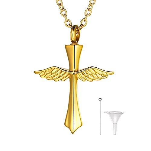 U7 クロス 十字架 遺骨ネックレス メモリアル ペンダントトップ メンズ ゴールド 手元供養 遺骨カプセル 刻印可能 55cm