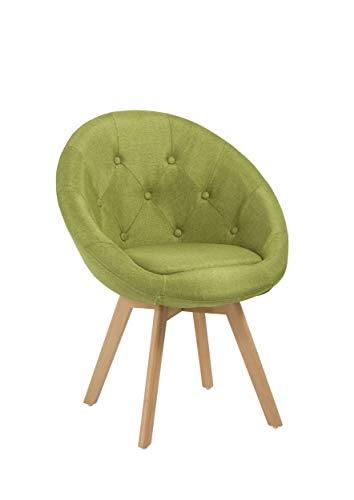 Duhome Stuhl Esszimmerstuhl Grün Küchenstuhl mit Holzbeinen Sessel Retro Stoffbezug Farbauswahl 509G
