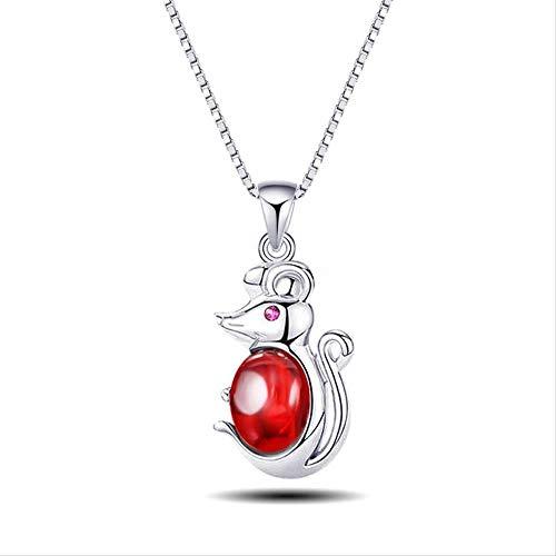 Collar de Mujer S, joyería 925, Collar de ratón Travieso de Plata Pura, Colgante de ágata Femenina, Cadena de clavícula, joyería, Regalo del Día de San Valentín