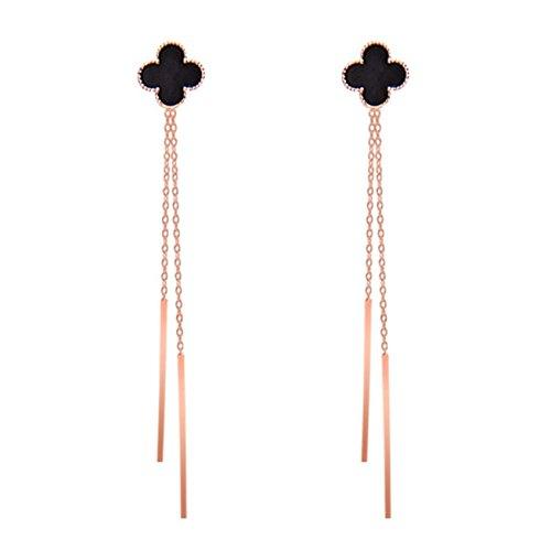 Women & Girls Sweet Princess 4 Leaf Clover Clip on Earrings Long Tassel Dangle Rose Gold Plated