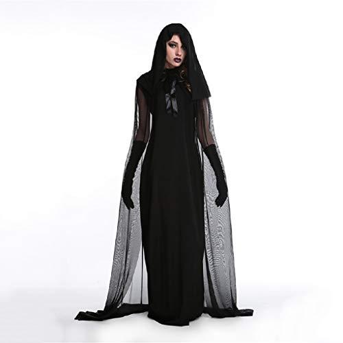TcooLPE Traje de Bruja de Halloween Cosplay, Vestido de Bruja Bruja Bruja Discoteca Disfraz de Disfraces Modelo de Bruja Disfraz Disfraz Traje de Fantasma Negro (Size : XXL)