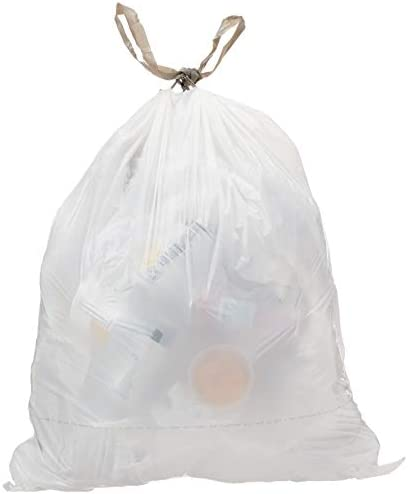AmazonCommercial AMZB 13GW 1 2MDS SHK Custom Fit White Drawstring Trash Bags Compatible with product image