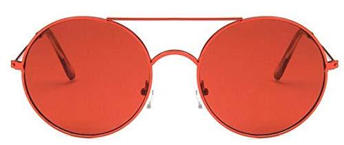 Gafas De Sol Redondas para Mujer Moda De Lujo Retro Espejo De Metal Gafas De Sol Diseñador De La Marca Vintage Gafas De Sol Rojas Uv400 Rojo