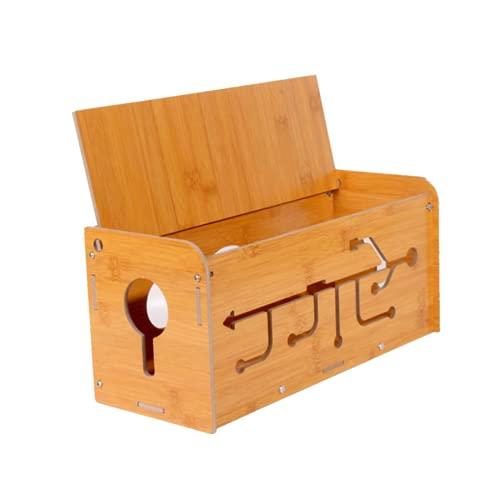 WYJRF Caja Organizadora de Cables de Madera de Bambú, Caja Grande para Ordenar Cables, Caja de Administración de Cables de Escritorio para Guardar Cargadores, Regletas y Cables