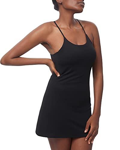 Women's Workout Dress, Sleeveless Built-in with Bra & Shorts Pocket Athletic Dress for Golf Sportwear Tennis Dress (XS, Black)