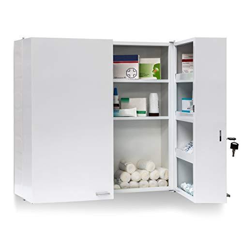 Relaxdays 10019095 Armoire à pharmacie acier XXL toilette médicaments salle de bain 2 portes clés 11 étagères de rangement H x l x P: 53 x 53 x 20 cm, blanc