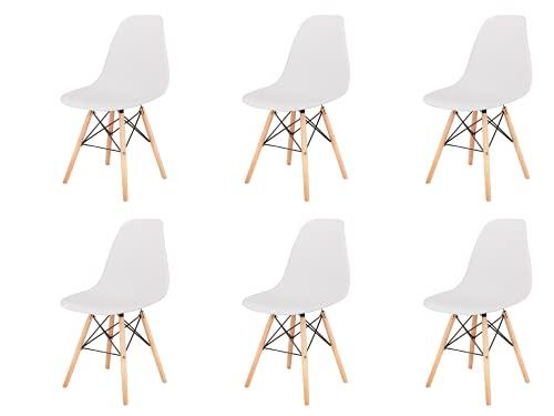 Silla de comedor clásica nórdica con forma de concha de plástico y patas de madera maciza, soporte de metal para cocina, sala de estar, negocios, juego de 6 (blanco, 6)