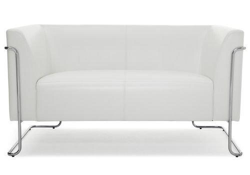 hjh OFFICE 713370 Lounge-Sofa CURACAO Kunstleder Weiß/Silber 2-Sitzer Couch gepolstert modernes Design Club, Wartebereich, Büro