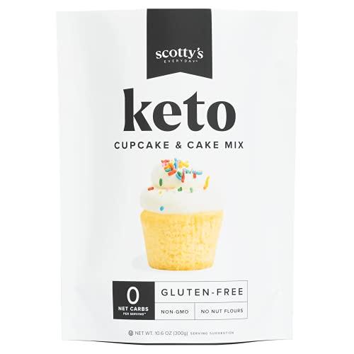 Keto Cupcake & Cake Mix - Gluten Free Zero Carb Keto Baking Mix - 0g Net Carbs Per Serving - Easy to Bake - No Nut Flours - Great Keto Dessert, Sugar Free, Non-GMO, Kosher. 10.6oz Mix