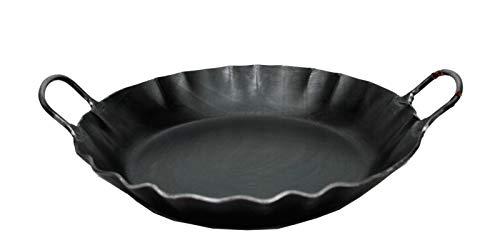 Alpenline Eisenpfanne handgeschmiedet, schmiedeeiserne Pfanne mit 2 Griffen Ø 33 cm mit 7 cm hohem Rand