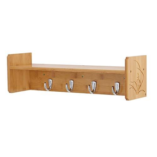 Wandgarderobe met plank, modern, multifunctioneel wandrek van hout met metalen haken, kleerhangers voor het ophangen van kleding sleutels, handdoek, kasten, industriële meubels accessoires