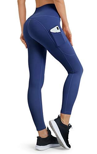 bromen Pantalones de deporte de cintura alta para mujer, con funda para teléfono móvil, largos, opacos, pantalones de yoga D04-royal blue 36-38
