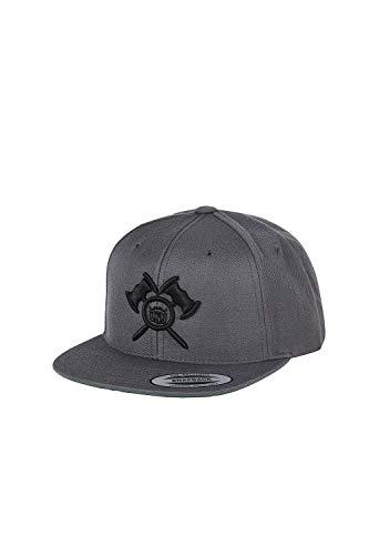 barTbaren Snapback Cap in grau – verstellbare Unisex Cap für Damen und Herren mit hochwertig aufgesticktem 3D Axt Logo